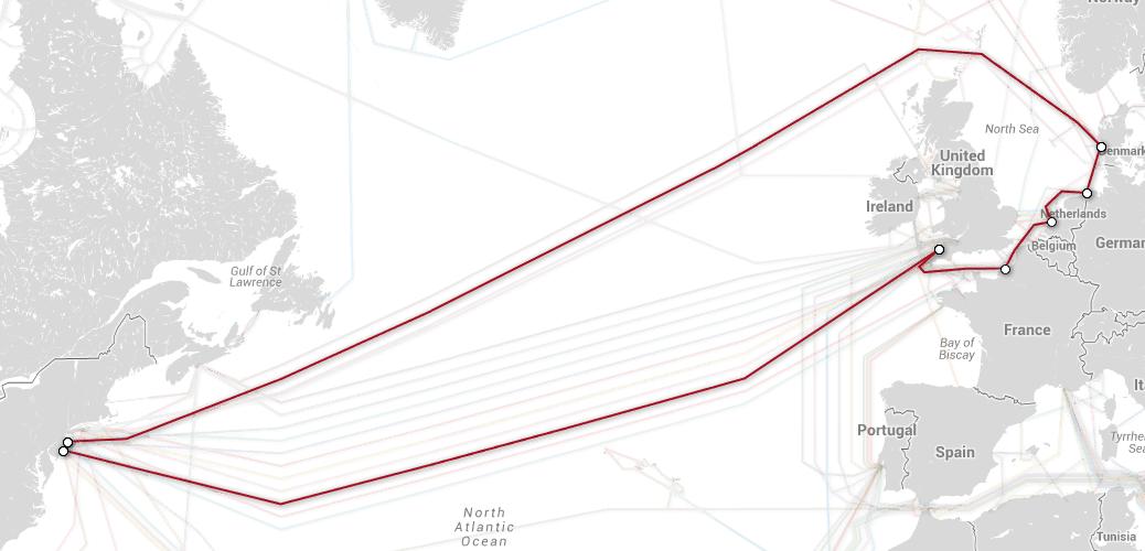 Telia Transatlantic Cable Map