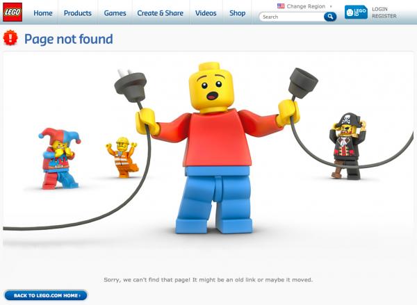 Lego's 404 Error Page