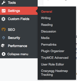 WordPress Admin Area Settings