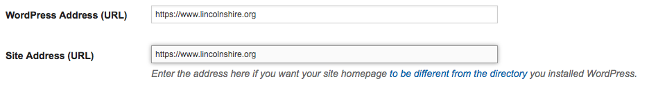 WordPress Settings - Site URL HTTPS