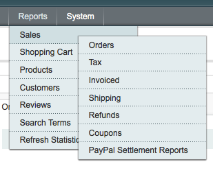 Magento eCommerce Reports Menu